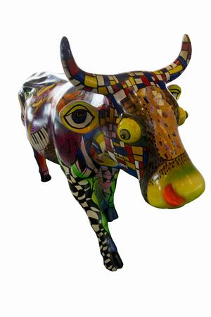 gracefully: Colorful plush cow  Standing gracefully It decoration shop