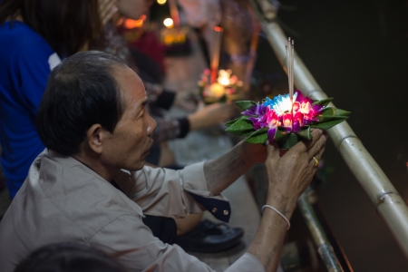 lunar month: chiangmai, Thailand - November 17, 2013  Loy Krathong Day is one of the most popular festivals of Thailand celebrated annually on the Full-Moon Day of the Twelfth Lunar Month  It takes place at a time when the weather is fine as the rainy season is over a Editorial