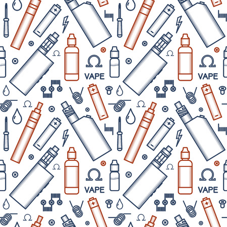 Vector seamless pattern of vaporizer and accessories. Color print on white background