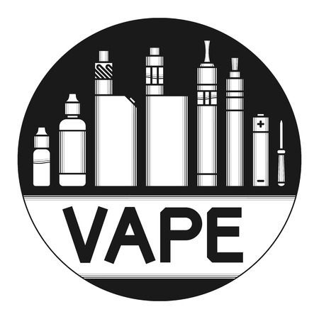 glycol: Vector illustration of vape. White print on dark background