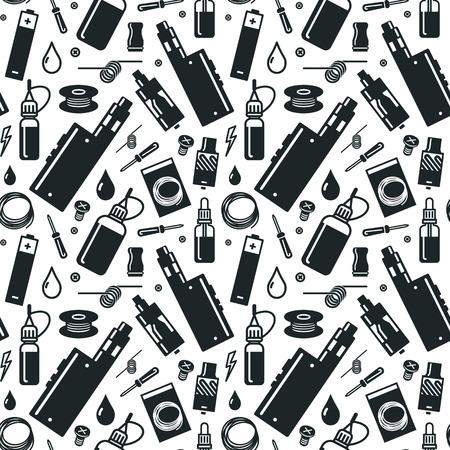 Endless vape background. Black print on white background Banco de Imagens - 44249822