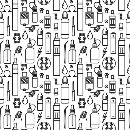 Vector seamless pattern of vaporizer and accessories. Black print on white background.