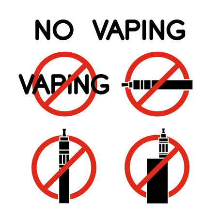 smoking ban: No vape icons. No veping prohibition sign Illustration
