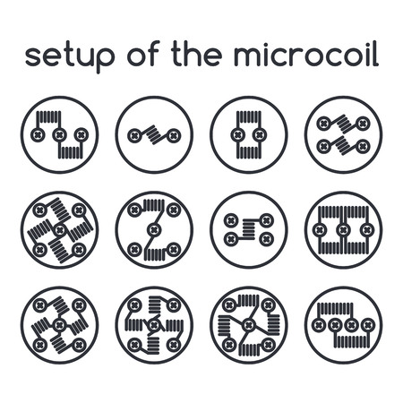 eliquid: Vector icons set. Setup of the microcoil Illustration