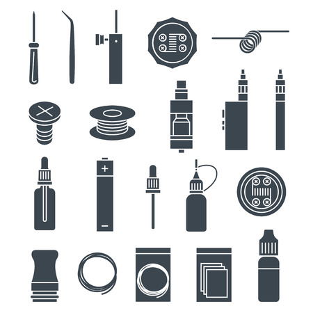 vaporizer: Vector icons set of vaporizer and accessories