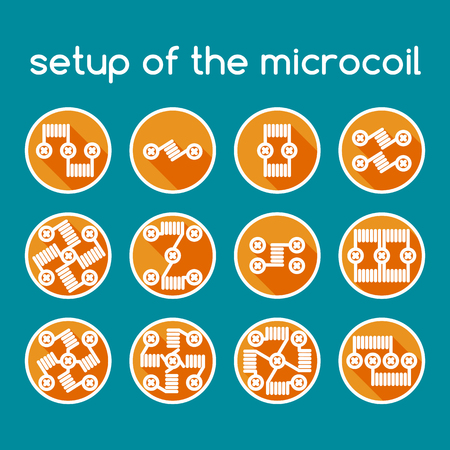 eliquid: Color vector icons of vape. Setup of the microcoil