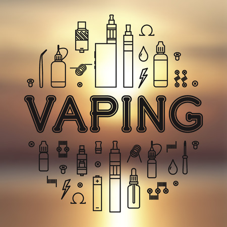 eliquid: Set of Vaping icons in thin line style and blurred background