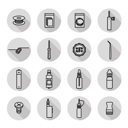 vaporizer: Vaporizer icon set Isolated on white background Illustration