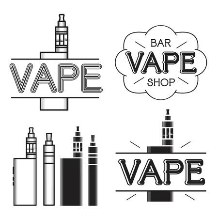 cliche: Tienda de Vape y bar. Logotipo oscuro sobre fondo blanco Vectores
