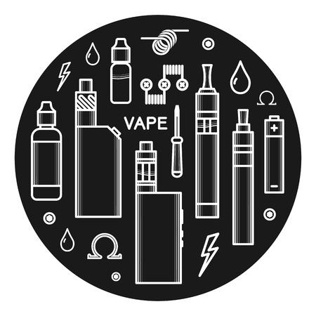 propylene: Vector illustration of vape. White print on dark background