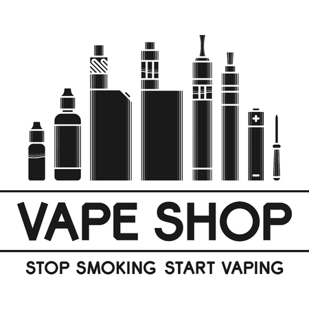 Vector illustration of vape. Dark print on white background Stock Illustratie