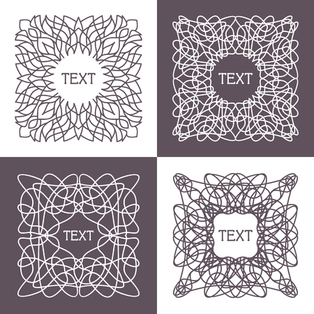 wickerwork: Vector frame with space for text in trendy mono line style
