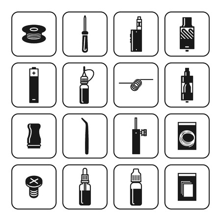 vaporizer: Vector icons set of vaporizer and accessories. Black print on white background Illustration