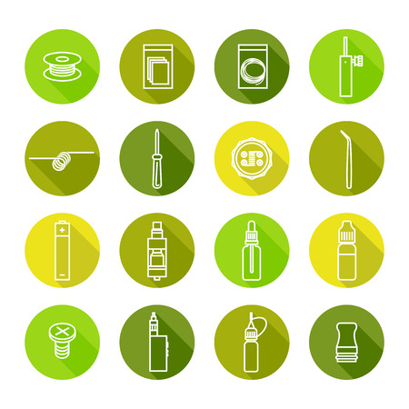 vaporizer: Vector colors icons set of vaporizer and accessories Illustration