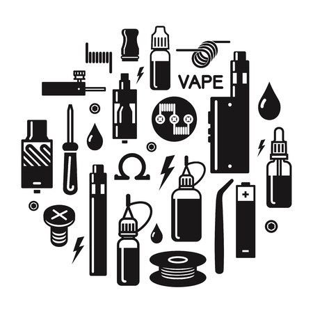 Vector illustration of vape. Blak print on white background Ilustração