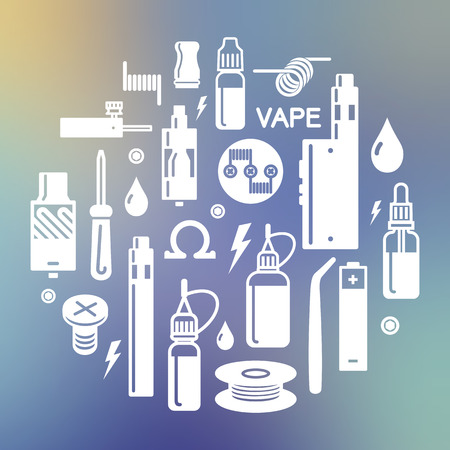 glycol: Vector illustration of vape on blurred background