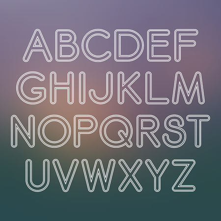 holey: Vector linear font in mono line style on blurred background Illustration