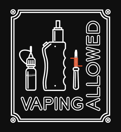 allowed: Vape banner with text vaping allowed. White print on black background