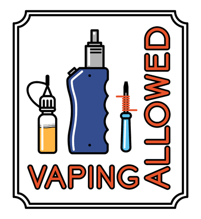 vaporizer: Vaporizer  vector banner with text vaping allowed