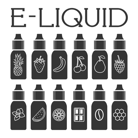 Vector E-Liquid illustration of different flavor. Liquid to vape 向量圖像