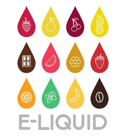 eliquid: Icons of E-Liquid. Vector E-Liquid illustration of different flavor.