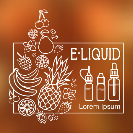flavor: Icons of  E-Liquid.  E-Liquid illustration of different flavor on blurred background Illustration