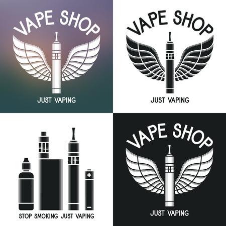 cliche: Vape Logotipo de la tienda. Iconos e-cigarrillos y accesorios. Aislado en el fondo borroso, blanco y negro