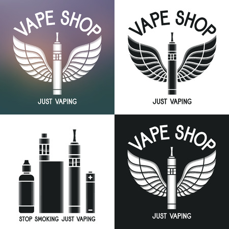 eliquid: Vape shop logo. Icons e-cigarette and accessories. Isolated on blurred, white and dark background