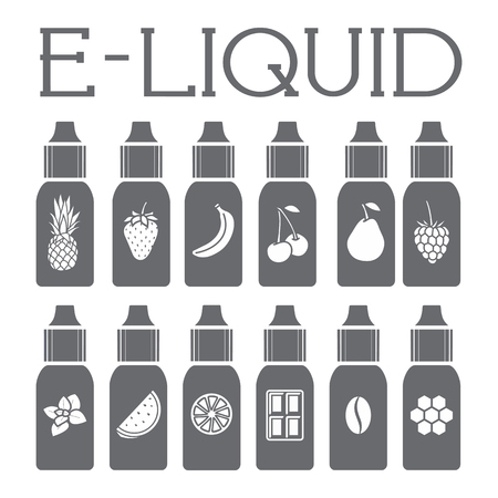 vaporizer: Icons of  E-Liquid. Vector E-Liquid illustration of different flavor.