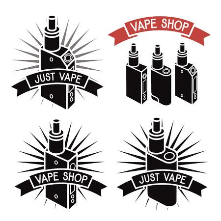 e shop: Vape shop logo. Icons e-cigarette. Isolated on white  background