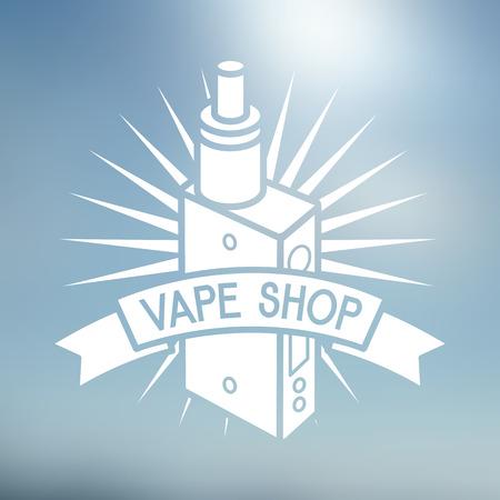 cliche: Vape Shop Logo Aislado en el fondo borroso