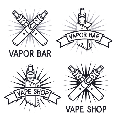 cliche: Vape shop and bar. Isolated logos on white background
