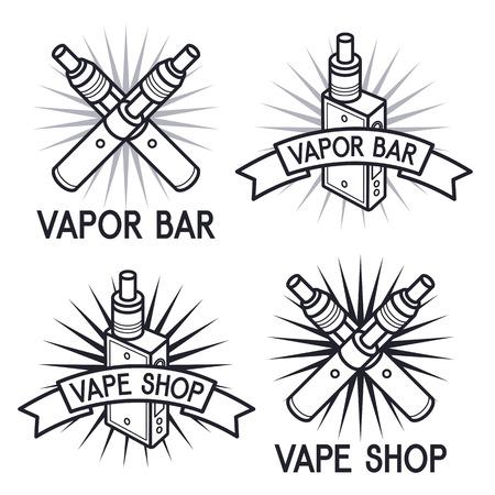 Vape shop and bar. Isolated logos on white background