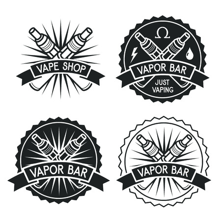 vapor: Vapor bar and Vape shop logo. Black emblem on white background