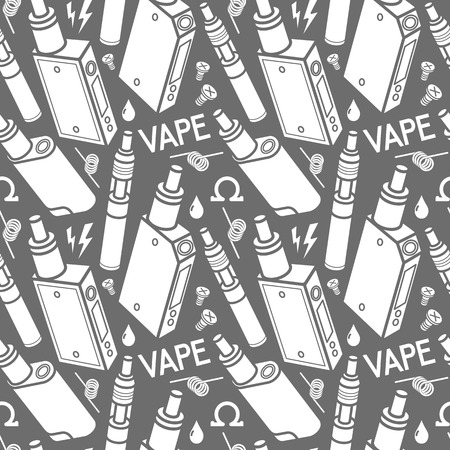 vaporizer: Vector seamless pattern of vaporizer and accessories. White print on grey background.
