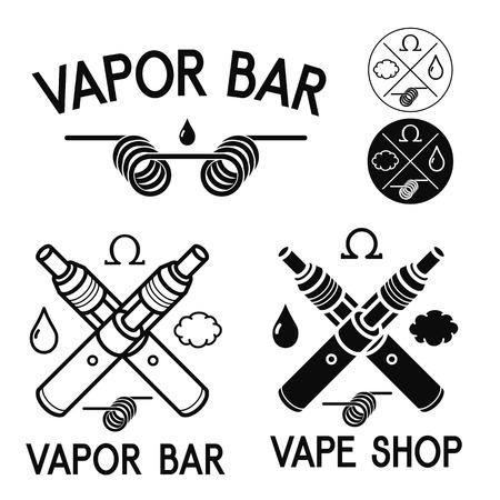 Vape shop and bar. Isolated logos on white background Banco de Imagens - 47210510