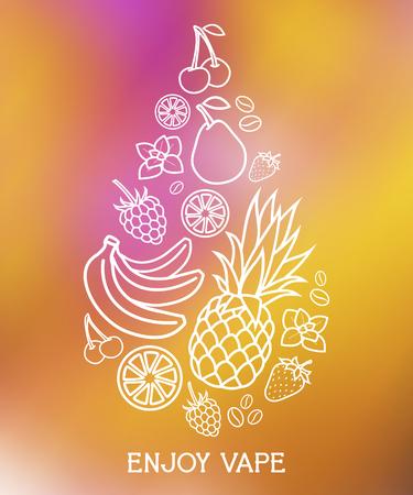 Vector E-Liquid illustration of different flavor. Enjoy vape Banco de Imagens - 47249425