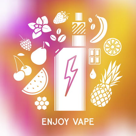 Set of vector white silhouette icons and design elements for vape shop and vapor bar, e-cigarette and e-liquid store, isolated on on blurred background