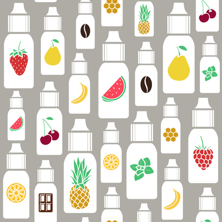 eliquid: Vector seamless pattern of different flavor. The taste of the electronic cigarette, pattern of E-Liquid. Illustration