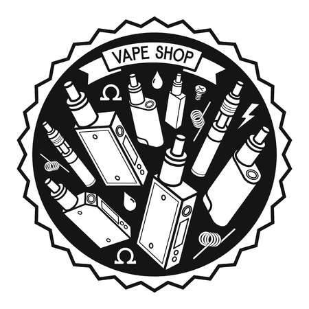 Set of vector icons and design elements for vape shop, e-cigarette and e-liquid store, isolated Illustration
