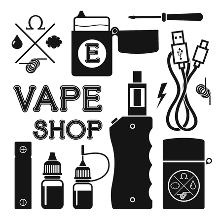 eliquid: Set of vector black silhouette icons and design elements for vape shop, e-cigarette and e-liquid store, isolated on  white background