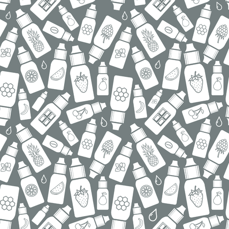 vaporizer: Vector  seamless pattern of different flavor. The taste of the electronic cigarette, pattern of  E-Liquid.