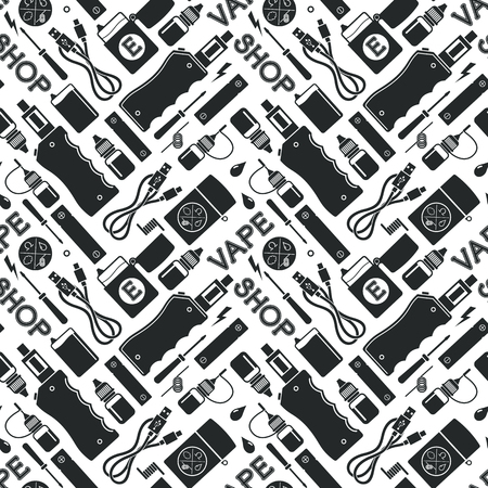 eliquid: Vector seamless pattern of vape and accessories, e-cigarette and e-liquid store, isolated on white background Illustration