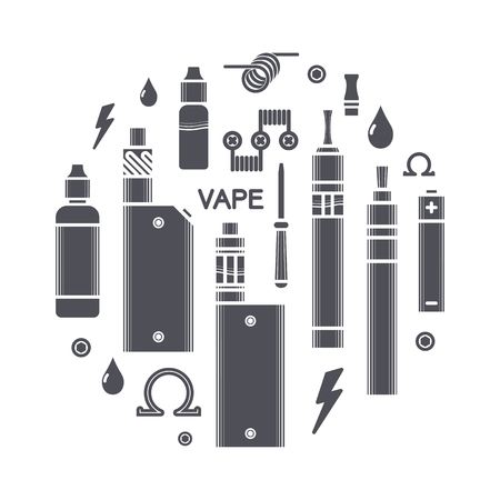 Set of vector black silhouette icons and design elements for vape shop and vapor bar, e-cigarette and e-liquid store, isolated on white background