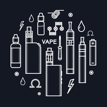 eliquid: Set of vector icons and design elements for vape shop and vapor bar, e-cigarette and e-liquid store, isolated on black background
