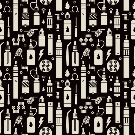 Vector seamless pattern for vape shop and vapor bar, e-cigarette and e-liquid store, isolated print on black background Illustration