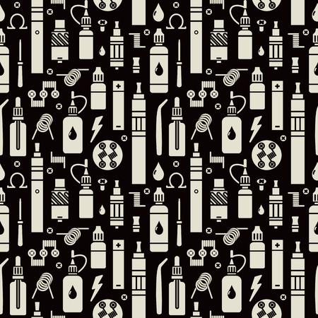 Vector seamless pattern for vape shop and vapor bar, e-cigarette and e-liquid store, isolated print on black background Banco de Imagens - 49038848