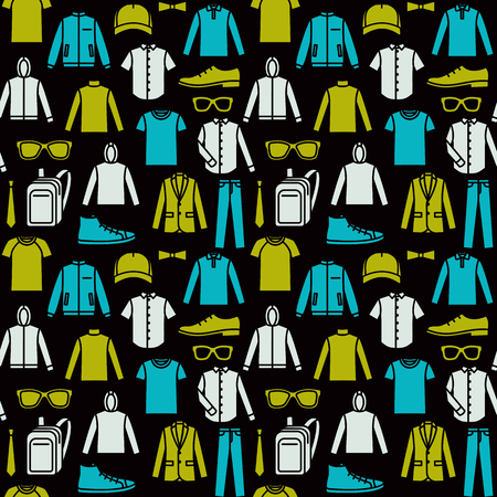 sportswear: Vector seamless pattern of mens clothes and accessories, isolated  on black background