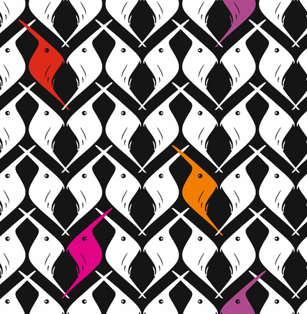ordered: Vector seamless pattern Bird. Endless abstract background.