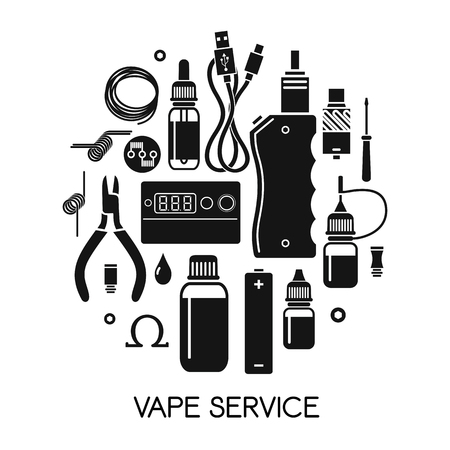 e liquid: Vector illustration of vape and accessories. Vape icons set Isolated on white background. Vape service